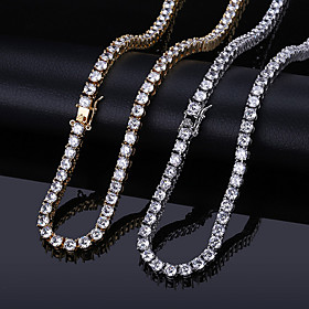 AAA Cubic Zirconia Necklace Tennis Chain Statement Trendy Fashion Hip Hop Copper Gold Silver 45.8 cm Necklace Jewelry 1pc For Anniversary Street Festival