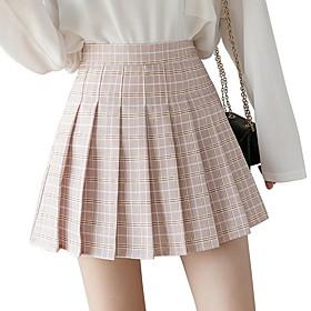 Women's A Line Skirts - Check Blushing Pink Green Light Green XS S M