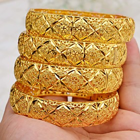 4pcs Women's Cuff Bracelet Hollow Out Wedding Vintage Theme Luxury Classic Trendy Ethnic Africa 24K Gold Plated Bracelet Jewelry Gold For Christmas Wedding Gif