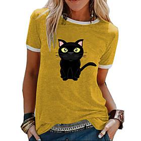 Women's Blouse Shirt Animal Print Round Neck Tops Basic Top Blue Yellow Green