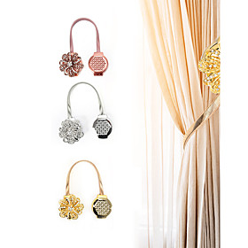 2 Pieces Crystal Flower Shape Magnet Curtain Buckle Magnetic Tiebacks For Curtains Window Curtain Clip Holder Strap Home Decor Accessory Adjustable Tie Back St