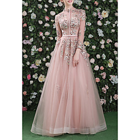A-Line Cut Out Floral Prom Formal Evening Dress High Neck Long Sleeve Floor Length Organza with Embroidery 2020