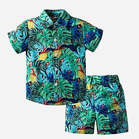 Toddler Boys' Basic Print Short Sleeve Clothing Set Light Green Fabric:Cotton; Sleeve Length:Short Sleeve; Gender:Boys'; Style:Basic; Kids Apparel:Clothing Set; Age Group:Toddler; Pattern:Print; Front page:FF; Listing Date:06/04/2020; Bust:; Length [Bottom]:; Length [Top]: