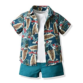 Kids Boys' Basic Print Short Sleeve Clothing Set Yellow Fabric:Cotton; Sleeve Length:Short Sleeve; Gender:Boys'; Style:Basic; Kids Apparel:Clothing Set; Age Group:Kids; Pattern:Print; Front page:FF; Listing Date:06/03/2020; Bust:; Length [Bottom]:; Length [Top]: