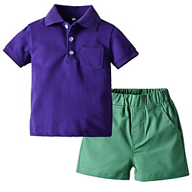 Kids Boys' Basic Solid Colored Short Sleeve Clothing Set White Fabric:Cotton; Sleeve Length:Short Sleeve; Gender:Boys'; Style:Basic; Kids Apparel:Clothing Set; Age Group:Kids; Pattern:Solid Colored; Front page:FF; Listing Date:06/01/2020; Bust:; Length [Bottom]:; Length [Top]: