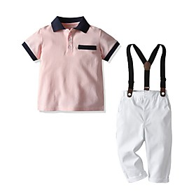 Kids Boys' Basic Solid Colored Short Sleeve Clothing Set Blushing Pink Fabric:Cotton; Sleeve Length:Short Sleeve; Gender:Boys'; Style:Basic; Kids Apparel:Clothing Set; Age Group:Kids; Pattern:Solid Colored; Front page:FF; Listing Date:06/02/2020; Bust:; Length [Bottom]:; Length [Top]: