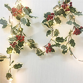 1X 2M 20Leds Red Berry Christmas String Lights  Garland Hand-made LED Copper Fairy Lights Ivy Leaf String Lights For Xmas Holiday Tree Home Decoration Lighting