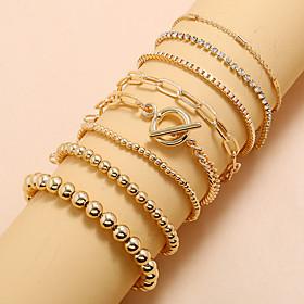 8pcs Women's Chain Bracelet Bead Bracelet Vintage Bracelet Vintage Style Lucky Classic Vintage Trendy Fashion Boho Alloy Bracelet Jewelry Gold For Gift Date Bi
