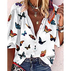 Women's Blouse Shirt Animal Long Sleeve Shirt Collar Tops Basic Top White
