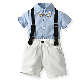 Kids Boys' Basic Solid Colored Short Sleeve Clothing Set Light Blue Fabric:Cotton; Sleeve Length:Short Sleeve; Gender:Boys'; Style:Basic; Kids Apparel:Clothing Set; Age Group:Kids; Pattern:Solid Colored; Front page:FF; Listing Date:06/04/2020; Bust:; Length [Bottom]:; Length [Top]: