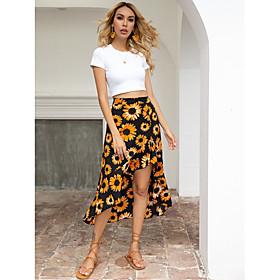 Women's Asymmetrical Swing Skirts Floral