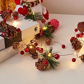 2M 20 LED Fairy Flexible Led String Lights Pine Cone Bell Cedar Star Garland String Light AA Battery Powered Garden Tree Decor Lamp For Xmas New Year Decor Lig