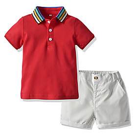Kids Boys' Basic Color Block Short Sleeve Clothing Set Red Fabric:Cotton; Sleeve Length:Short Sleeve; Gender:Boys'; Style:Basic; Kids Apparel:Clothing Set; Age Group:Kids; Pattern:Color Block; Front page:FF; Listing Date:06/01/2020; Bust:; Length [Bottom]:; Length [Top]: