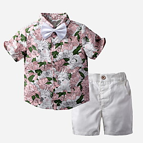 Kids Boys' Basic Print Short Sleeve Clothing Set Blushing Pink Fabric:Cotton; Sleeve Length:Short Sleeve; Gender:Boys'; Style:Basic; Kids Apparel:Clothing Set; Age Group:Kids; Pattern:Print; Front page:FF; Listing Date:06/04/2020; Bust:; Length [Bottom]:; Length [Top]: