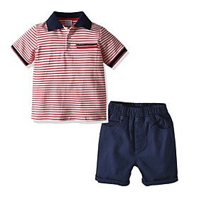 Kids Boys' Basic Striped Short Sleeve Clothing Set Red Fabric:Cotton; Sleeve Length:Short Sleeve; Gender:Boys'; Style:Basic; Kids Apparel:Clothing Set; Age Group:Kids; Pattern:Striped; Front page:FF; Listing Date:06/02/2020; Bust:; Length [Bottom]:; Length [Top]: