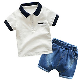 Kids Boys' Basic Color Block Short Sleeve Clothing Set White Fabric:Polyester; Sleeve Length:Short Sleeve; Gender:Boys'; Style:Basic; Kids Apparel:Clothing Set; Age Group:Kids; Pattern:Color Block; Front page:FF; Listing Date:06/01/2020; Bust:; Length [Bottom]:; Length [Top]:; Festival:Christmas