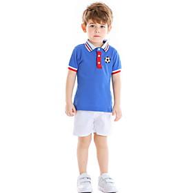 Kids Boys' Basic Striped Print Short Sleeve Clothing Set White Fabric:Cotton; Sleeve Length:Short Sleeve; Gender:Boys'; Style:Basic; Kids Apparel:Clothing Set; Age Group:Kids; Pattern:Striped,Print; Front page:FF; Listing Date:06/01/2020; Bust:; Length [Bottom]:; Length [Top]: