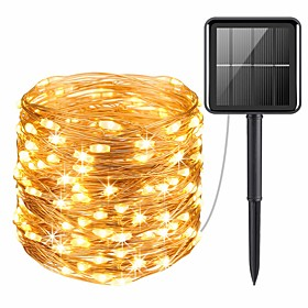20M 200LEDs Solar LED String Lights Outdoor String Lights 8 Function Outdoor Waterproof Fairy Lights Garden Christmas Wedding Birthday Party Holiday  Decoratio