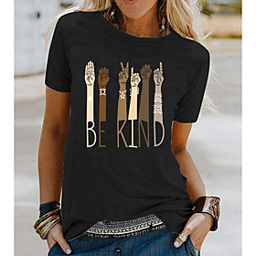 Women's Be kind T-shirt Letter Round Neck Tops Loose Basic Top White Black Blue