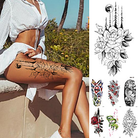 10 pcs Temporary Tattoos Waterproof Temporary Tattoo Sticker Flower Rose Flash Tattoos Lalash Tattoos Snake Lion Body Art Arm Fake Sleeve Tatoo Women XQB01-10