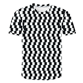 Men's Daily Plus Size T-shirt Geometric 3D Check Print Short Sleeve Tops Streetwear Exaggerated Round Neck Rainbow / Sports