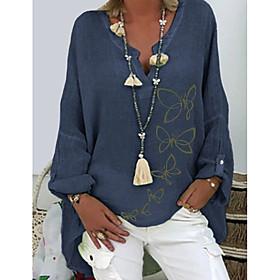 Women's Blouse Shirt Animal Long Sleeve V Neck Tops Basic Top White Purple Blushing Pink