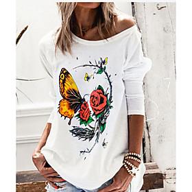 Women's Blouse Shirt Animal Long Sleeve Round Neck Tops Basic Top White Black Wine