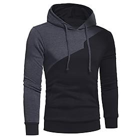 Men's Daily Hoodie Color Block Hooded Casual Hoodies Sweatshirts  Black Blue Wine / Sports