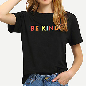 Women's Be kind T-shirt Letter Print Round Neck Tops 100% Cotton Basic Basic Top White Black Yellow