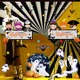 Halloween Party Toys Window Sticker Wall Stickers Cartoon Paper Kid's Trick or Treat Halloween Party Favors Supplies