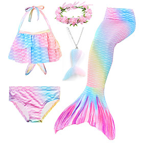 Kids Toddler Girls' Active Cute Mermaid Tail Rainbow Drawstring Sleeveless Swimwear Blushing Pink