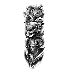 1 Sheet Full Arm Temporary Tattoo Tattoo Designs For Men Konsait Extra Temporary Tattoo Black tattoo Body Stickers for Man Women TQ81-100