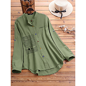 Women's Blouse Shirt Animal Long Sleeve Print Round Neck Tops Loose Basic Basic Top Blue Green