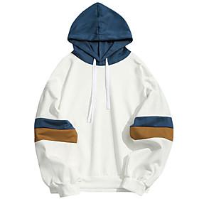 Men's Daily Pullover Hoodie Sweatshirt Color Block Hooded Basic Hoodies Sweatshirts  White Blue / Sports