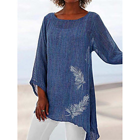 Women's Beach Tunic Solid Colored Long Sleeve See Through Patchwork Print Round Neck Tops Loose Beach Basic Top White Blue Red
