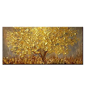 100% Hand painted Large Modern Canvas Art Oil Painting Knife Golden Tree Paintings For Home Living Room Hotel Decor Wall Art Picture Rolled Without Frame