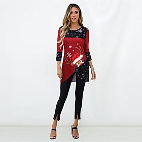 Women's Blouse Shirt Animal Long Sleeve Patchwork Print Asymmetric Round Neck Tops Basic Basic Top Red