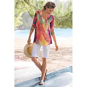 Women's Blouse Shirt Abstract Long Sleeve Print V Neck Tops Basic Basic Top Rainbow