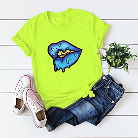 Women's Blouse Shirt Abstract Mouth Print Round Neck Tops 100% Cotton Basic Basic Top White Black Blue