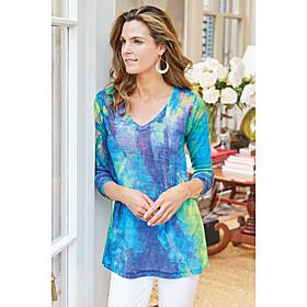 Women's Blouse Shirt Abstract Long Sleeve Print V Neck Tops Basic Basic Top Blue