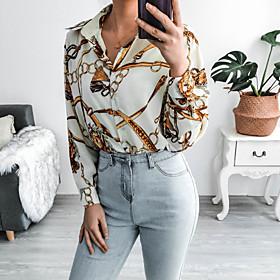 Women's Blouse Shirt Abstract Long Sleeve Button Print Shirt Collar Tops Basic Basic Top Beige