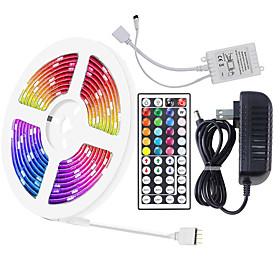 16.5ft 5m 5050 RGB LED Strip Light Full Color with 44-Key IR Remote Adapter Light Strip Kit DC12V Color Changing for Bedroom Home Party DIY Decoration