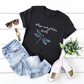Women's Blouse Shirt Animal Letter Round Neck Tops 100% Cotton Basic Basic Top Black
