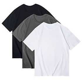 Women's 3 Piece T-shirt Solid Colored Round Neck Tops Basic Basic Top White