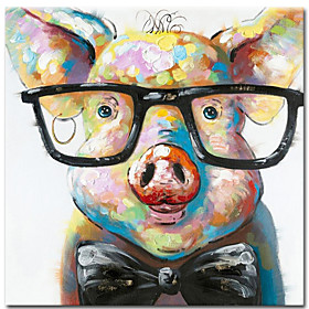 100% Hand painted Canvas Painting Abstract Animal Pig Oil Painting Wall Pictures for Living Room Cuadros Home Decor Rolled Without Frame