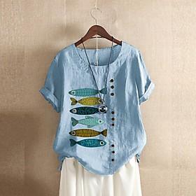 Women's Blouse Shirt Animal Button Print Round Neck Tops Loose Basic Basic Top White Black Blue