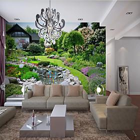 Home Decoration Custom Self Adhesive Mural Wallpaper Beautiful Garden Creek Suitable For Bedroom Living Room Coffee Shop Restaurant Hotel Wall Decoration Art