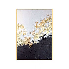 100% Hand Painted Big size Handmade knife abstract oil painting Gold Gray White gorgeous abstract Painting home Decor Oil Painting on Canvas Rolled Without Fra