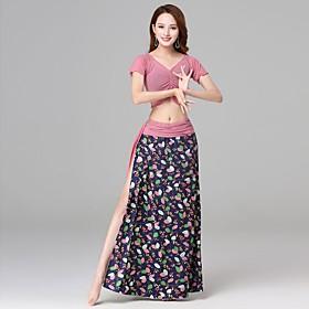 Belly Dance Skirts Sash / Ribbon Pattern / Print Women's Training Performance Short Sleeve Dropped Nylon Satin