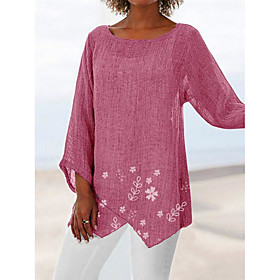 Women's Beach Tunic Floral Solid Colored Flower Long Sleeve See Through Patchwork Print Round Neck Tops Loose Beach Basic Top White Blue Red
